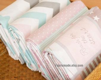 Pastel Cotton Fabric, Light Blue Pink Grey Stars Cotton, Zig Zag Chevron Cotton Fabric - 1/2 Yard