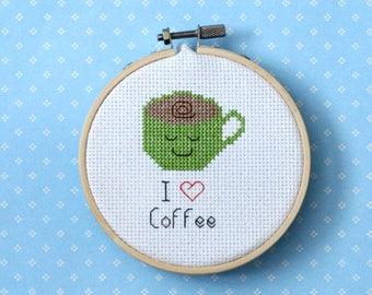 "Coffee Cross Stitch Pattern ""I Love Coffee""  Instant Download PDF"