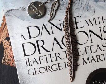 Game of Thrones Bookmark Raven Feather Motto