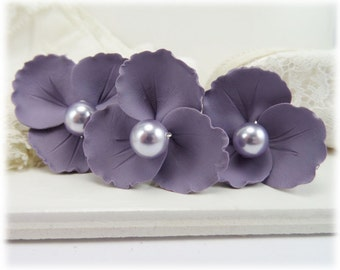 Purple Wild Flower Hair Pins - Lavender Purple Pearl Flower Hair Pins, Purple Pearl Floral Hair Accessories