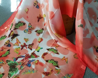 Fly Away Butterfly Shawl Red