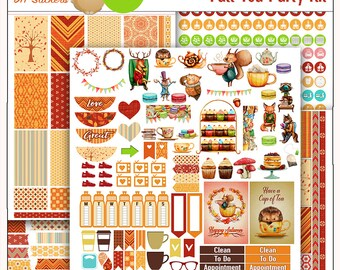 Fall Tea Party Printable Planner Stickers Kit  4 PDFs, EC or Happy Planner, Washi,  Icons, ADORABLE Clip Art