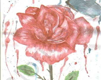 Butterfly on a rose watercolor painting