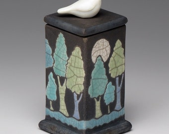 Ceramic box, Bird,trees,green, blue, black, ceramic Raku Fired Box, handmade treasure box,home decor