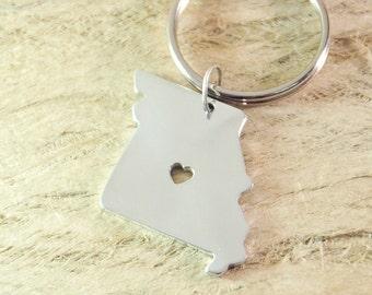 Missouri keychain  alloy 925 sterling silver keychain heart key chain State keychain State Charm Map keychain  Map Jewelry