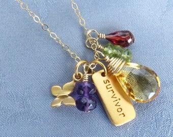 Yoga Jewelry Gold SURVIVOR Necklace Breast Cancer Survivor Jewelry Gold Charm, Gemstones, Peridot, Garnet, Amethyst, Citrine, Amethyst
