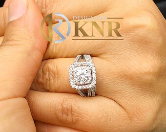 14k white gold forever one moissanite round cut and diamonds engagement ring and band, wedding, bridal set, propose, anniversary 1.65cTW