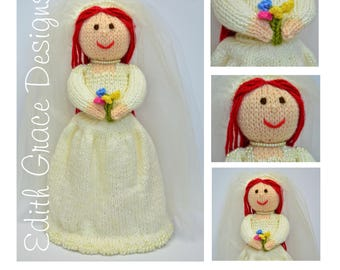 Doll Knitting Pattern - Bride Doll - Knit Doll - Toy Knitting Pattern - Wedding Gift - Wedding Dress - Bride Gift - Doll Pattern