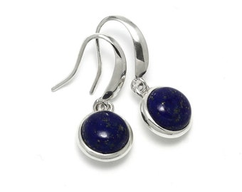 Lapis Lazuli Earrings, 925 Sterling Silver, Unique only 1 piece available! color navy blue, weight 5.4g, #46016