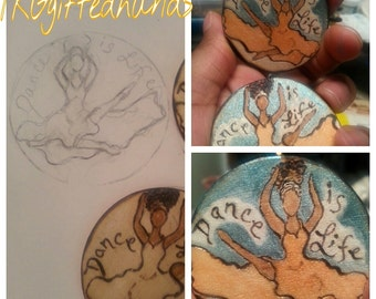 Dance is Life Wood burned and hand painted earrings