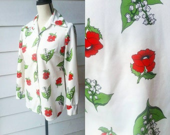 1970s Poppy Novelty Print Top || Julie Miller || Alice in Wonderland