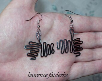 very fine black aluminum hammered earring