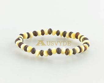 Baltic amber raw beads bracelet Healing Amber for Her Gift Raw (unpolished) Baltic amber Green Opaque  5317