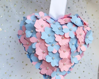 Pink and blue heart, paper hydrangea flowers, church pew decor, aisle decor, wedding decor, blush rose alternative bouquet, best friend gift