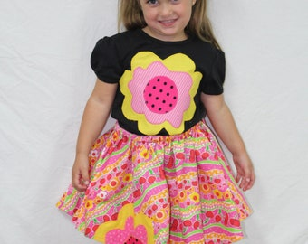 Summer shirt, girl shirt, Girls tshirt, t shirt, t-shirt, toddler clothes, black, pink, watermelon, flower, twirl skirt, toddler skirt,