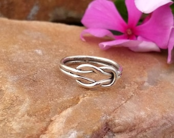 Sterling Silver Double Knot Ring - Silver Knot Ring, Sterling Silver handmade Ring - Knot Ring Sterling Silver