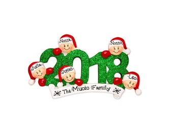 5 Family Members 2018 Ornament / Personalized Christmas Ornament / Friends Ornament / Brothers / Sisters / Hand Personalized