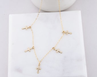 Tiny Dots Cross Choker, Cross Choker Necklace in Silver OR Gold, Gold Cross Dangle Choker, Gift for Her, Cross Dangle Choker Necklace