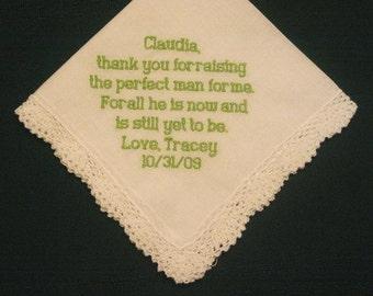 Mother of the Groom Hanky, Wedding Handkerchief, Mum of the groom, Embroidered hankie, Wedding gift,  46B