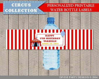PERSONALIZED Printable Circus or Carnival Water Bottle Labels / Circus Collection / Item #1007