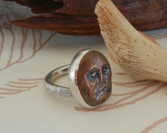 Face Ring in Copper and Silver