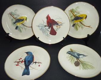 "1986 National Wildlife Federation Bird Plates 8"" Cardinal Nuthatch Bluebird Goldfinch Set of 5"