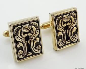 Vintage Swank Cufflinks Ornate Escutcheon Keyhole 1950s Cool Cuff Links!