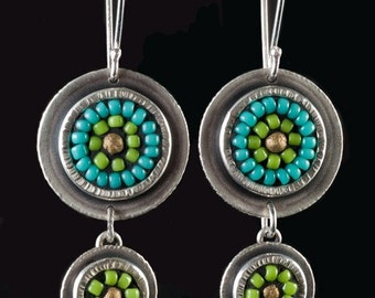 Sterling-silver and turquoise and lime-green, mosaic seed-bead dangle earrings