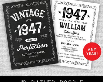 Aged to Perfection Invitation - Vintage Birthday Invite - Chalkboard Printable Invite - 40th 50th 60th 70th 80th 90th - Any Year - 2 Sides