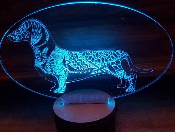 Dachshund Dog LED Lamp Personalised Colour Change Unusual Gift