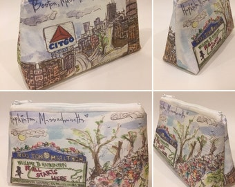 Cosmetic Bag- Marathon Themed Hopkinton/Boston