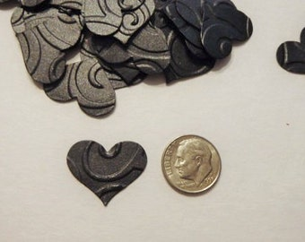 200 embossed black confetti hearts