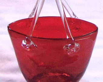 Red Glass Purse Vase