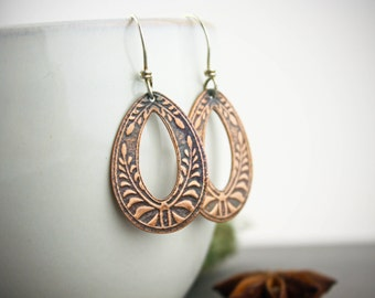 Small botanical textured copper hoop earrings- handmade copper earrings- textured copper earrings- detailed copper earrings