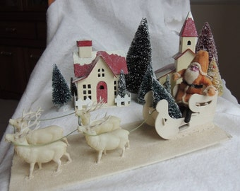 Vintage Clay Face Santa With Sleigh and Reindeer - Celluloid Reindeer - Christmas Decoration