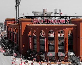 Busch Stadium Print - St. Louis Cardinals Photography - Touch of Red - Cardinals Baseball, Saint Louis Print, Fine Art Print