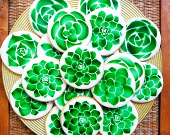 Succulent Decorated Sugar Cookies, Succulents, Birthday Party Favors, Parties, VEGAN and GLUTEN FREE available!