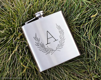 Custom Monogram Flask, Bridesmaid Gift, Custom Birthday Gift, Girlfriend Christmas Gift, Gift For Wife, Womens Gift, Gift For Her (GG4100)