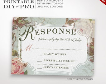 RSVP Wedding Template - Vintage Rose Wedding Response Card - Printable DIY French Country Wedding Editable Custom RSVP