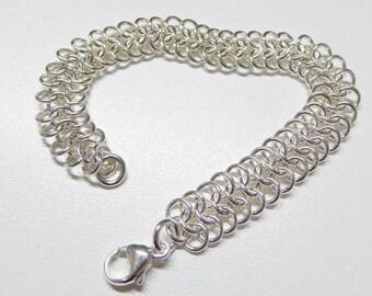 Sterling silver chain bracelet,925 sterling silver chainmail bracelet,silver chain link bracelet,sterling silver flat 2-in-1 chainmail
