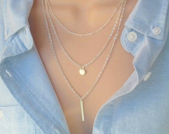 Layered Necklace | Layering Necklace | Silver Necklace | Silver Bar Necklace | Dainty Necklace | Delicate Necklace | Layered Necklace Set |
