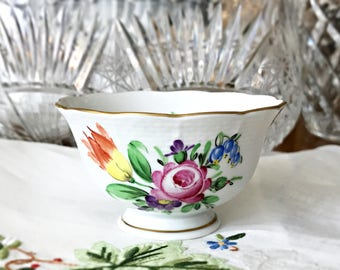 Herend Porcelain Ring Bowl Ring Dish Floral China Pin Dish Sugar Bowl