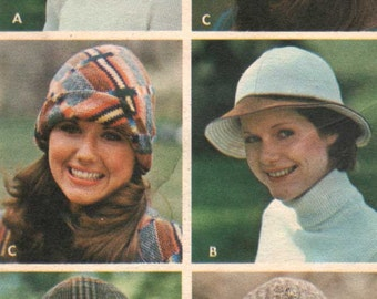 Vintage Sewing Pattern Butterick 3319 UNCUT - 70s - HATS Brim Turn-Back Toque Sunhat - one size