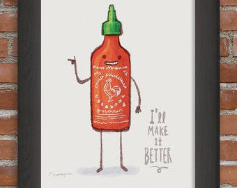 Rooster sauce- art print