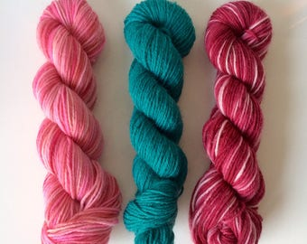 Hand dyed sock yarn mini set (3 mini skeins)