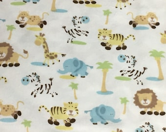 Lions, Giraffes, Zebras, Elephants and Tiger Flannel Baby Blanket Gift Set - Baby Boy - comes with two matching burp cloths