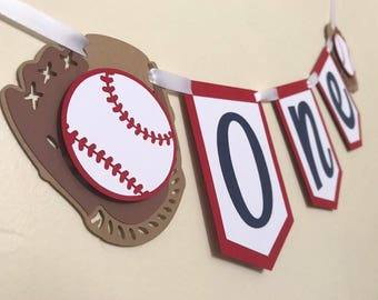Baseball One Banner, Baseball Highchair Banner, Baseball Party, Baseball Decor