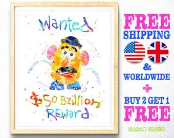Disney Toy Story Prints, Mr Potato Head Prints, Watercolor Art, Kids Decor, Nursery Decor, Home Decor, Birthday Gift, Christmas Gifts -161