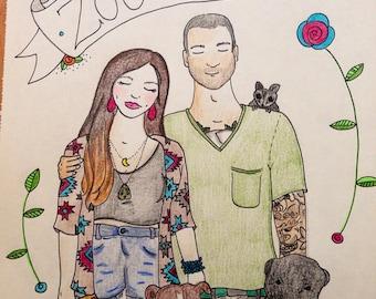 Custom portrait // Family of 2 & 3 pets