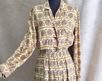 Vintage 40's Day Dress, Rayon 40's Dress, Brown and Yellow Print, Long Sleeve, Small to Medium, Waist 26 Bust 39